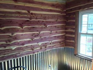Cedar siding and tin