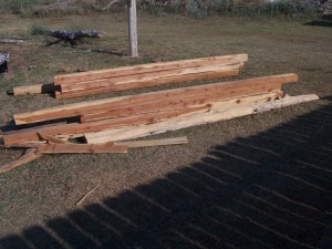 4X4's for sawmill shed 002